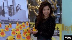 香港90後畫家李楚洳(美國之音譚嘉琪拍攝)