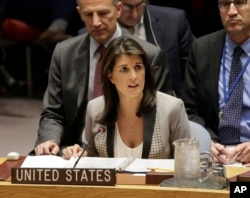 FILE - United States Ambassador to the United Nations Nikki Haley speaks during a U.N. Security Council meeting at United Nations headquarters in New York, Nov. 26, 2018.