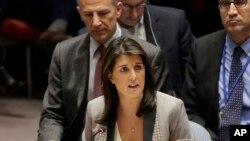 Nikki Haley, intervenant devant le Conseil de sécurité de l'ONU, New York, le 26 novembre 2018.
