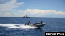 美軍領導的2013年東南亞合作訓練(SEACAT)海上聯演在南中國海操演( 2013年9月7日,美國軍方照片)
