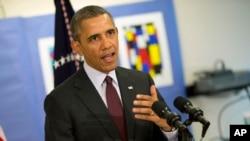 奧巴馬星期二到訪華盛頓一所學校時評論烏克蘭局勢