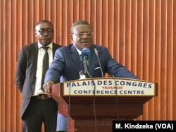 Cameroon Prime Minister Joseph Dion Ngute adresses English-speaking women in Yaounde, Cameroon, April 18, 2019.