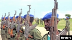 Soldiers of DRC stand at Kamina training base in Katanga province, 2005.