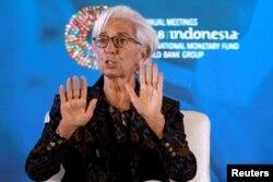 Direktur Pelaksana Dana Moneter Internasional (IMF) Christine Lagarde di Nusa Dua di Bali, Indonesia, 9 Oktober 2018.