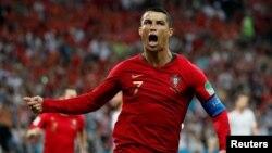 Le Portugais Cristiano Ronaldo après son premier but lors du match du Mondial 2018 contre l'Espagne au Stade Fisht, Sotchi, Russie, 15 juin 2018.