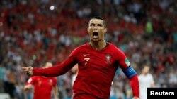 Christiano Ronaldo célèbre l'un de ses buts contre l'Espagne, Russie le 15 juin 2018