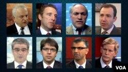 از بالا راست: ایلان برمن، مایکل روبین، مارک دوبویتس، سام کرمانیان | از پائین راست: پاتریک کلاوسون، مجید صادقپور، دیوید ایبسن و رضا پیرزاده