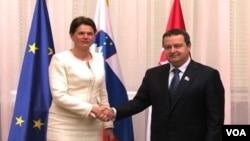 Predsednik Vlade Srbije Ivica Dačić i premijerka Slovenije Alenka Bratušek