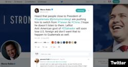 """美國聯邦參議員魯比奧30日在推特表示,聽聞危地馬拉總統吉米·摩拉利斯身邊的人在推波助瀾,敦促總統棄台投中。魯比奧說:""""我希望他不會聽他們的。"""""""