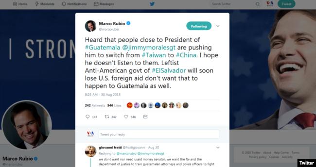 """美國聯邦參議員魯比奧30日在推特表示,聽聞危地馬拉總統吉米·摩拉利斯身邊的人在推波助瀾,敦促總統棄台投中。 魯比奧說:""""我希望他不會聽他們的。"""""""