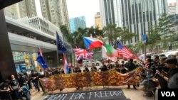 香港社福界發起香港人權法案請願遊行,促請國際社會關注反送中運動期間警方涉嫌濫用武力等人道危機。(美國之音湯惠芸)