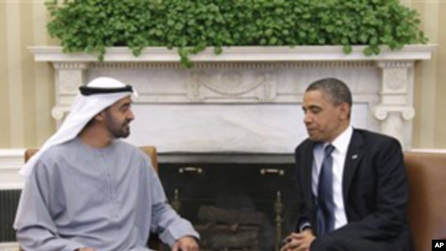 President Barack Obama meets with Sheikh Mohammed bin Zayed Al Nahyan of the United Arab Emirates, April 26, 2011, in the Oval Office of the White House in Washington