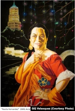 Một tác phẩm màu acrylic trên vải của Trevino vẽ năm 2009. (Ảnh GQ Velasquez)