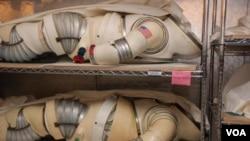Estos trajes son experimentos, primeras pruebas de trajes que posteriormente se utilizaron en el espacio y hacen parte de la colección del Smithsonian.