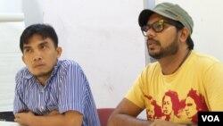Iwan Nurdin (kiri) Sekjen Konsorsium Pembaruan Agraria dan Haris Azhar koordinator KONTRAS, mengatakan bahwa pemerintah belum berpihak kepada rakyat dalam kegiatan usaha di Indonesia.
