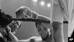 Le champion des poids lourds Mohamed Ali se penche sur les cordes après avoir défendu avec succès son titre contre Earnie Shavers au Madison Square Garden de New York, 29 septembre 1977. (AP Photo / Marty Lederhandler)