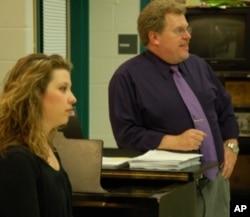 Sarah Pramstaller, choreographer, and Glenn Cockrell, musical director, work as a team during rehearsal.