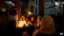 В Храме Гроба Господня в Иерусалиме. 16 апреля 2017 г.