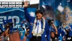 玻利維亞總統莫拉萊斯宣稱﹐在爭取第3個總統任期的競選中獲勝。(2014年10月8日資料照片)