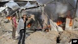Последствия авиаудара израильской авиации в секторе Газа