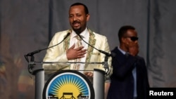 FILE - Ethiopia's Prime Minister Abiy Ahmed speaks in Washington, July 28, 2018.