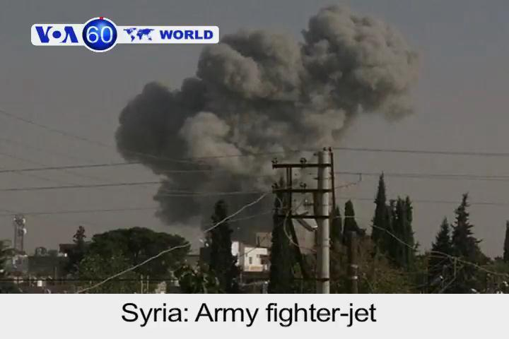 Syrian fighter-jet bombs rebel-held town near border with Turkey