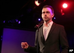 FILE - Twitter co-founder Jack Dorsey speaks at a fundraiser in New York. Twitter says on Jan. 25, 2016, that four executives are leaving the company.