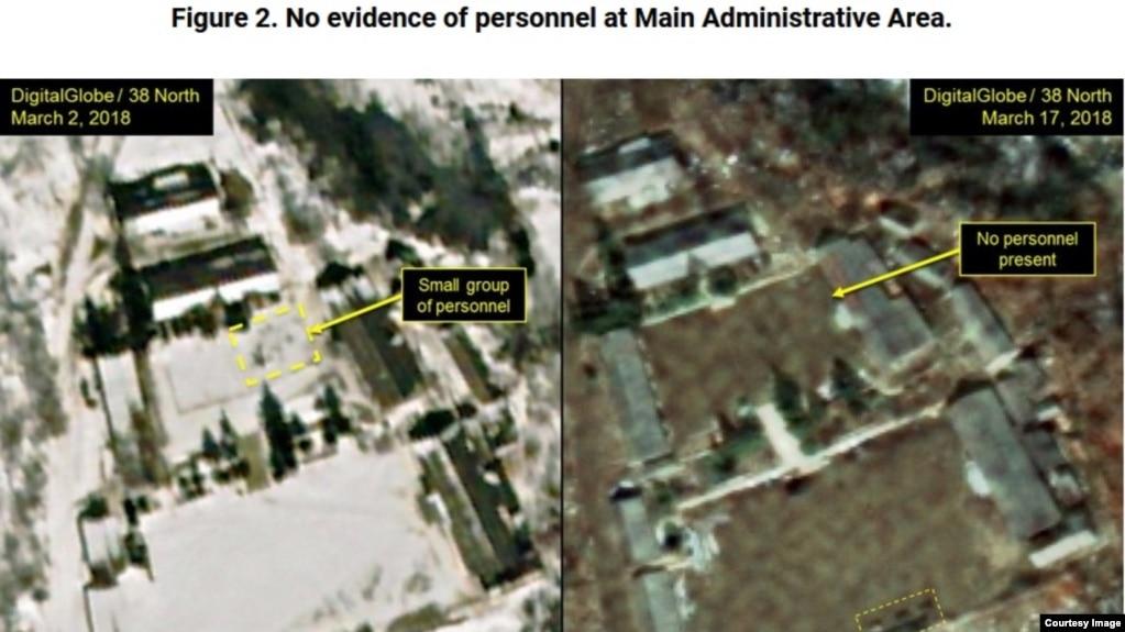 Ảnh chụp từ vệ tinh về khu thử hạt nhân Punggye-ri của Triều Tiên hồi tháng 3/2018