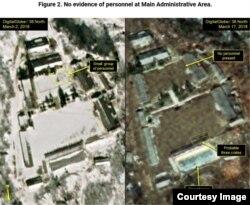 이달 2일(왼쪽)과 17일 풍계리 핵실험장 관리구역 일대. 2일에는 보였던 사람들이 17일에는 보이지 않는다. (38노스 홈페이지 캡쳐/디지털글로브 위성사진)