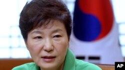 FILE - South Korean President Park Geun-hye speaks during a regular meeting at the presidential house in Seoul, South Korea.