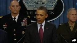 صدر اوباما نئی دفاعی حکمت عملی کا اعلان کرتے ہوئے
