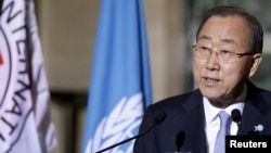 U.N. Secretary-General Ban Ki-Moon, speaking to reporters at U.N. European headquarters in Geneva, says the future of Syrian President Bashar al-Assad is for the Syrian people to decide, Oct. 31, 2015.