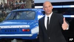 """Aktor Vin Diesel tiba di pemutaran perdana film """"Fast & Furious 6"""" di London. (Foto: Dok)"""