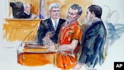 This artist rendering shows Irek Hamidullin, front center, his attorney Robert Wagner, front left, and interpreter Ihab Samra, front right, as judge Henry Hudson, left, listens in Federal Court in Richmond, Virginia, Nov. 7, 2014.