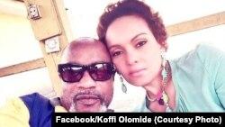 Une photo selfie postée sur la page Facebook de Koffi Olomide, le montre avec sa femme, à la prison de Makala, Kinshasa, 30 juillet 2016. (Koffi Olomide/Facebook)