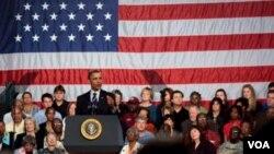 El presidente Barack Obama, habló en Cleveland, en el estado de Ohio, sobre su conducción de la economía.