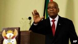 제이콥 주마 남아프리카공화국 대통령이 14일 대국민 연설을 통해 사퇴를 발표하고 있다.