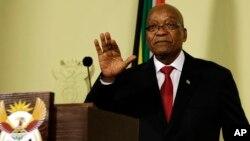Presiden Afrika Selatan Jacob Zuma tampil dalam konferensi pers di Pretoria, Rabu (14/2).