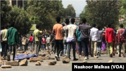 Anti govement protest by Jawar Mohammed supporters, Ambo, Oromia, Ethiopia, October 23, 2019 VOA/Nakor Melka