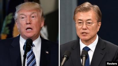 도널드 트럼프 미국 대통령(왼쪽)과 문재인 한국 대통령.