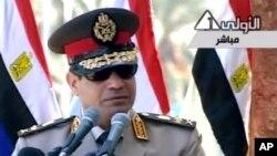 24일 압델 파타 엘시시 이집트 국방장관이 사관학교 졸업식에서 행한 연설이 관영 TV 채널을 통해 방송되었다.