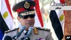 Abdel Fattah el-Sissi mengeluarkan seruan rakyat Mesir untuk melakukan protes massal mendukung pemerintahan sementara dalam pidato wisuda akademi militer hari Rabu (24/7).