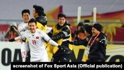 Đội U-23 Việt Nam mừng chiến thắng sau khi đánh bại đội Qatar trong trận bán kết ở TQ, 23/1/2018