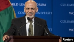 """FILE - Afghan President Ashraf Ghani participates in """"The New Beginning in Afghanistan: A Conversation with H.E. Dr. Mohammad Ashraf Ghani, President of the Islamic Republic of Afghanistan"""" at Columbia University in New York on March 26, 2015."""