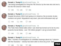 도널드 트럼프 대통령은 16일 트위터를 통해 자신이 '러시아 스캔들'을 수사하던 제임스 코미 전 연방수사국(FBI) 국장을 해임한 일로 수사받고 있는 사실을 확인했다.
