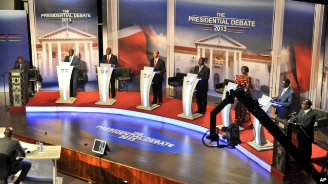 In this photo taken February 11, 2013, Kenyan presidential candidates take part in a televised debate in Nairobi, Kenya.