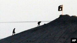 FILE - In this image shot with an extreme telephoto lens and through haze from the outskirts of Suruc at the Turkey-Syria border, militants with the Islamic State group are seen after placing their group's flag on a hilltop at the eastern side of the town