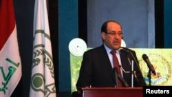 伊拉克总理马利基在巴格达发表讲话。(资料照)