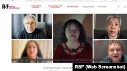 Hình ảnh các ký giả nước ngoài lên tiếng ủng hộ bà Trang.