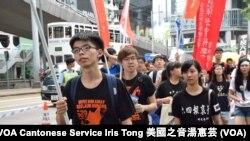 學民思潮召集人黃之鋒(左一)表示,八九民運是香港民主運動的分水嶺